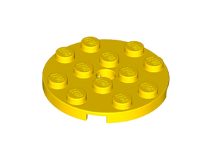LEGO Plate, Round 4 x 4 with Hole [Yellow] [60474]