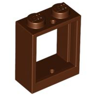 LEGO Window 1 x 2 x 2 Flat Front [Reddish Brown] [60592]