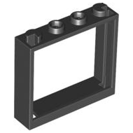 LEGO Window 1 x 4 x 3 - No Shutter Tabs [Black] [60594]