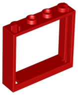 LEGO Window 1 x 4 x 3 - No Shutter Tabs [Red] [60594]