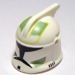 LEGO Minifigure, Headgear Helmet SW Clone Trooper with Holes, Sand Green Markings Pattern [White] [61189pb07]