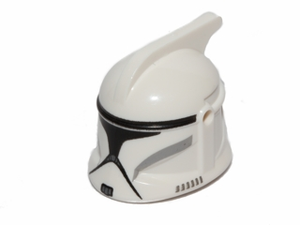 LEGO Minifigure, Headgear Helmet SW Clone Trooper with Holes, Gray Markings and Black Visor Pattern [White] [61189pb13]