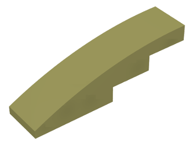 LEGO Slope, Curved 4 x 1 No Studs [Olive Green] [61678]