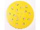 LEGO Tile, Round 8 x 8 with Pink Flowers Pattern (Sticker) - Set 5890 [Yellow] [6177pb003]