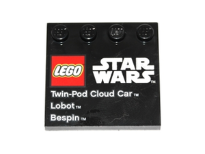 LEGO Tile, Modified 4 x 4 with Studs on Edge with Lego Star Wars Logo and 'Twin-Pod Cloud Car Lobot Bespin' Pattern - Set 9678 [Black] [6179pb048]