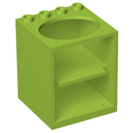 LEGO Container, Cupboard 4 x 4 x 4 with Elliptical Hole for Sink [Lime] [6197]