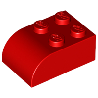LEGO Brick, Modified 2 x 3 with Curved Top [Red] [6215]