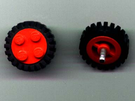 LEGO Wheel Old with 4 Studs, with Black Tire Offset Tread (7039 / 3483) [Red] [7039c03]