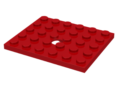 LEGO Plate, Modified 5 x 6 with Hole [Red] [711]