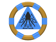 LEGO Ring with Center Triangle with Gold Bands and Squid Pattern (Atlantis Treasure Key) [Trans-Dark Blue] [87748pb04]