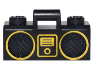 LEGO Minifigure, Utensil Radio Boom Box with Handle with Gold Digital Music Player and Rimmed Speakers Pattern [Black] [93221pb04]