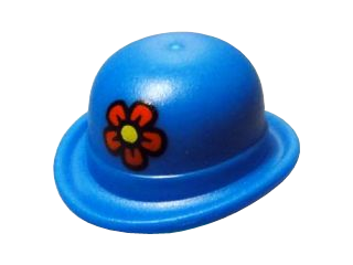 LEGO Minifigure, Headgear Hat, Bowler with Red Flower with Yellow Center Pattern [Blue] [95674pb01]