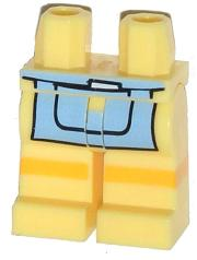 LEGO Hips and Legs with Bright Light Blue Apron and Yellow Stripe Pattern [Bright Light Yellow] [970c00pb269]
