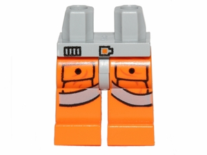 LEGO Hips and Orange Legs with SW Pilot Pockets and Gray Belts Pattern [Light Bluish Gray] [970c04pb03]