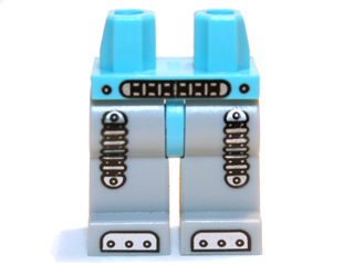 LEGO Hips and Light Bluish Gray Legs with Silver Mechanical Belt, Shock Absorbers and Feet Pattern [Medium Azure] [970c86pb03]