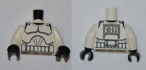 LEGO Torso SW Armor Clone Trooper Pattern (Clone Wars) / White Arms / Black Hands [White] [973pb0510c01]