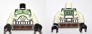 LEGO Torso SW Armor Clone Trooper with Sand Green Markings Pattern (Clone Wars) / White Arms / Black Hands [White] [973pb0759c01]