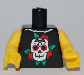 LEGO Torso Skull and Roses Pattern / Yellow Arms / Yellow Hands [Black] [973pb0838c01]