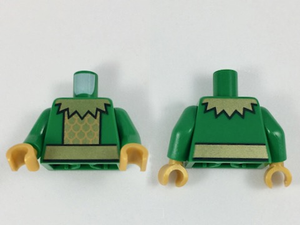 Lego New Green Minifigure Torso Plain Green Arms Yellow Hands Pieces