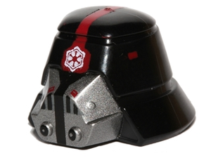 LEGO Minifigure, Headgear Helmet SW Sith Trooper with Red Stripe Narrow, Breathing Mask and Imperial Logo Pattern [Black] [98117pb01]