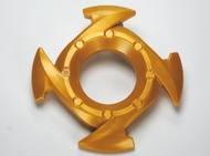 LEGO Ring 4 x 4 with 2 x 2 Hole and 4 Arrow Ends (Ninjago Spinner Crown) [Pearl Gold] [98341]