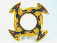 LEGO Ring 4 x 4 with 2 x 2 Hole and 4 Arrow Ends with Black and Red Stone Shards Pattern (Ninjago Spinner Crown) [Pearl Gold] [98341pb03]