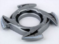 LEGO Ring 4 x 4 with 2 x 2 Hole and 4 Arrow Ends with Black Spikes Pattern (Ninjago Spinner Crown) [Flat Silver] [98341pb05]