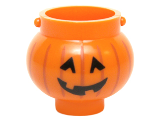 LEGO Minifigure, Utensil Pot Small with Handle Holders and Pumpkin Jack O' Lantern with Angular Eyes Pattern [Orange] [98374pb02]