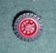LEGO Wheel Spoked 2 x 2 with Stud, with Black Tire Offset Tread (bb19 / 3483) [Red] [bb19c02]