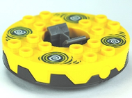 LEGO Turntable 6 x 6 Round Base Serrated with Yellow Top and White and Dark Blue Hypnobrai Pattern (Ninjago Spinner) [Pearl Dark Gray] [bb549c04pb01]