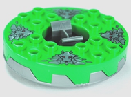 LEGO Turntable 6 x 6 Round Base Serrated with Bright Green Top and Dark Bluish Gray Stone Heads Pattern (Ninjago Spinner) [Flat Silver] [bb549c05pb01]