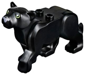 LEGO Cat, Large (Panther) with Lime Eyes and Dark Bluish Gray Nose Pattern [Black] [bb787c01pb01]