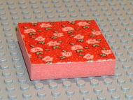 LEGO Foam, Scala, 7 x 7 Cloth Top, Light Salmon Flowers and Green Leaves Pattern [Red] [x1pb03]
