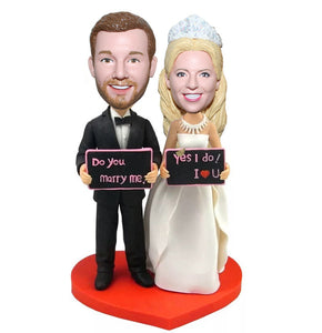 """Yes I Do"" Wedding Bobbleheads Dolls Custom Made"