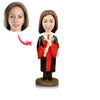 Custom Graduation Bobbleheads Hold Diploma - BobbleGifts