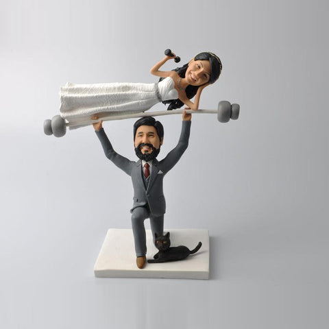 Funny Weightlifting Couples with Cat Wedding Cake Topper Custom Bobbleheads