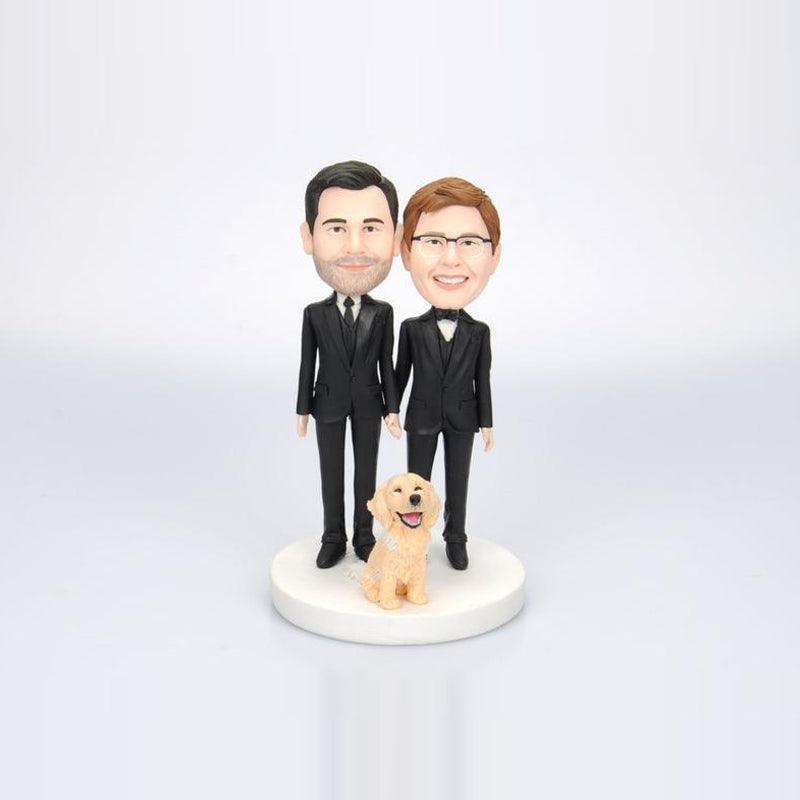 Wedding Groomsmen with Dog Custom Bobbleheads