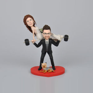 Weightlifting Couples with Dog Wedding Cake Topper Custom Bobbleheads
