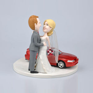 Wedding Couple with Car Wedding Cake Topper Custom Bobbleheads