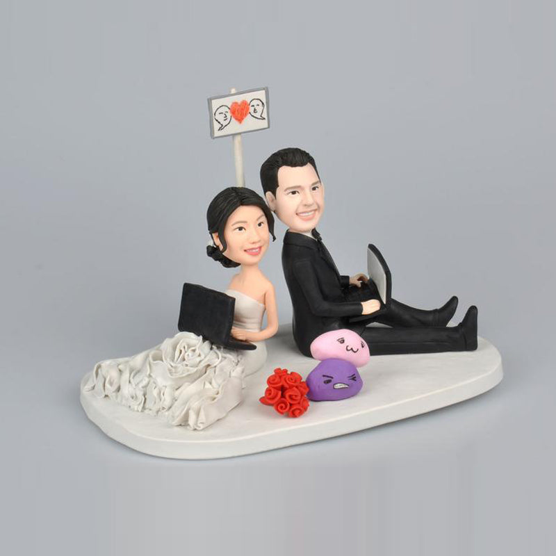 Back to Back Wedding Couple Personalized Custom Bobbleheads