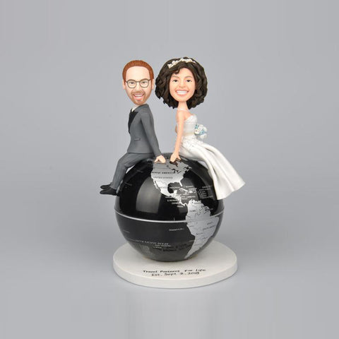 Wedding Couples Sit On Globe Personalized Custom Bobbleheads