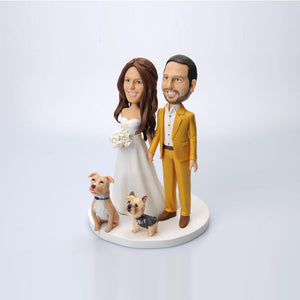 Wedding Couples with Two Dogs Cake Topper Custom Bobbleheads