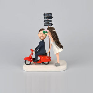 Bike Trip Wedding Couples Cake Topper Custom Bobbleheads