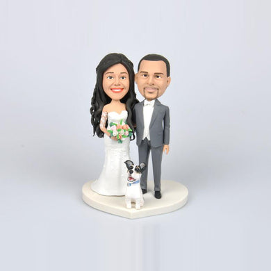 Wedding Couples Cake Topper Custom Bobbleheads with Dog