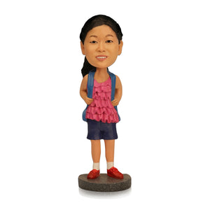 Go to School Girl Personalized Custom Bobbleheads - BobbleGifts