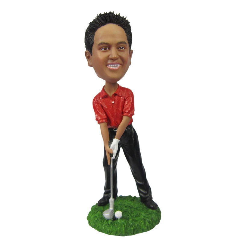 Golf Man in Red Dress Custom Bobbleheads