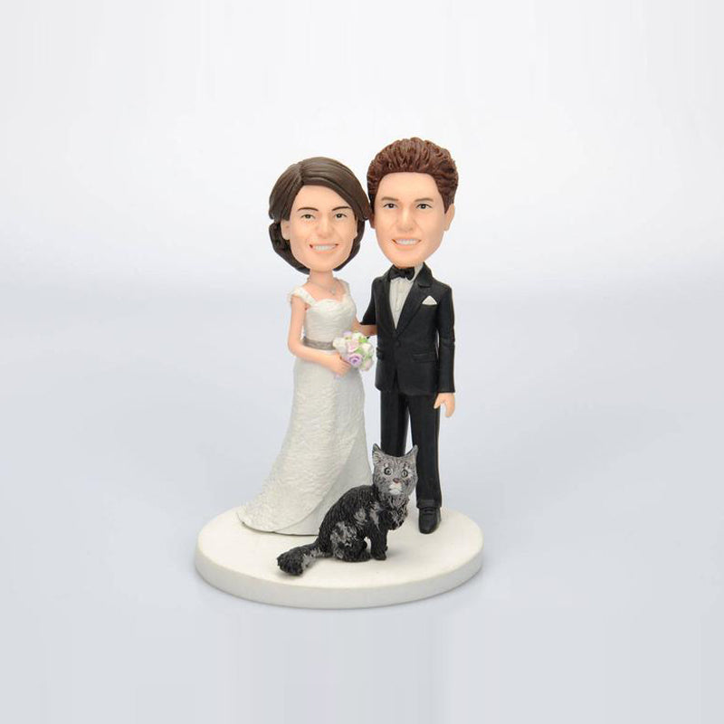 Custom Lovely Wedding Cake Topper Bobblehead with Cat