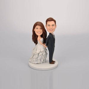 Custom Couple Wedding Cake Topper Figurine Bobbleheads