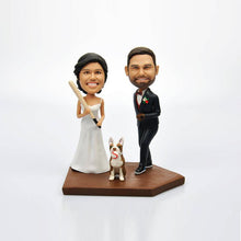 Custom Cute Wedding Couple Bobblehead with Pet