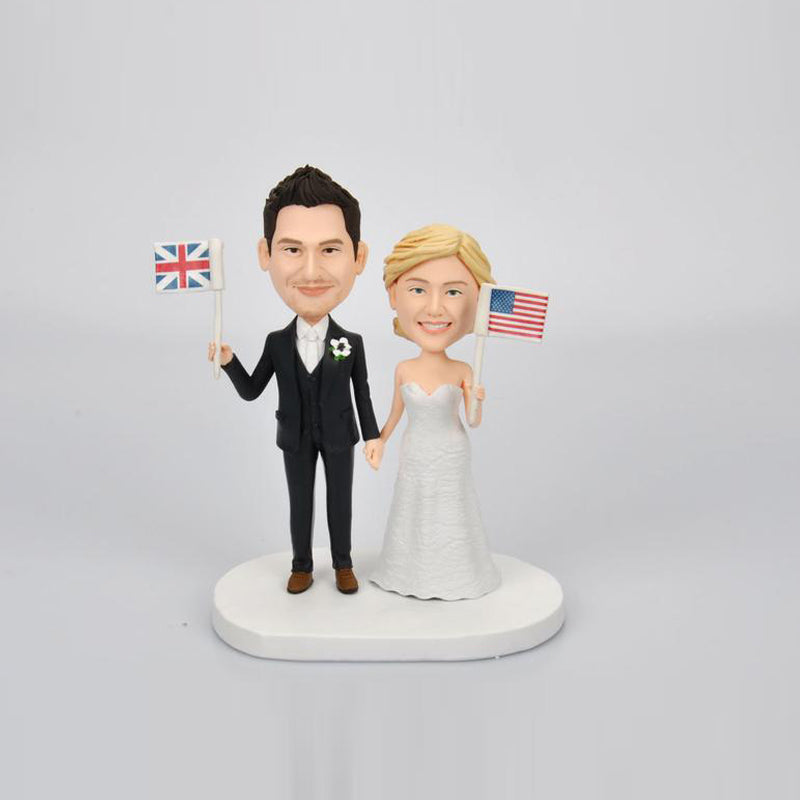 Custom Wedding Couple Bobblehead with National Flag